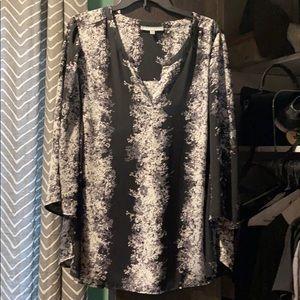 Black print blouse tunic